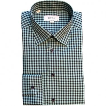 696ee2a2aed Eton Shirts Contemporary Fit Dark Green Check Shirt 27086134463