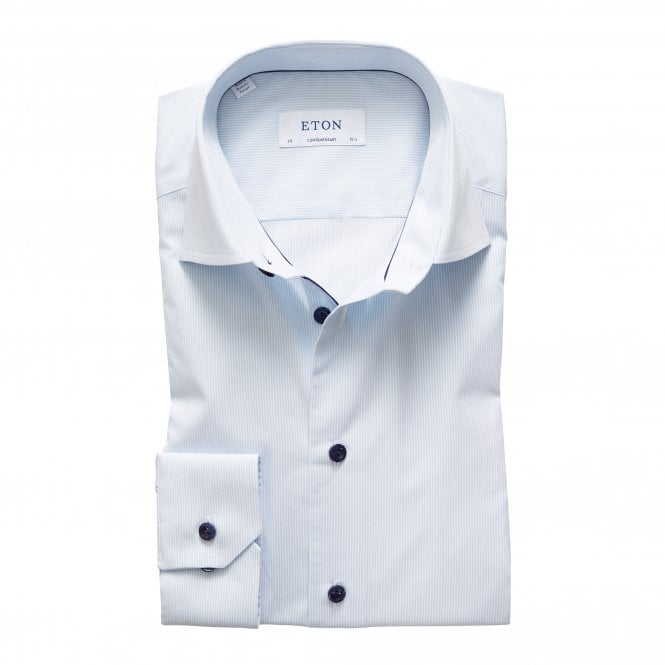 Eton Shirts Contemporary Fit Fine Blue Stripe Shirt