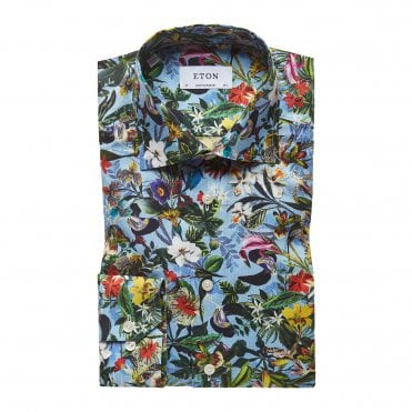 Contemporary Fit Flower Print Eton Shirt