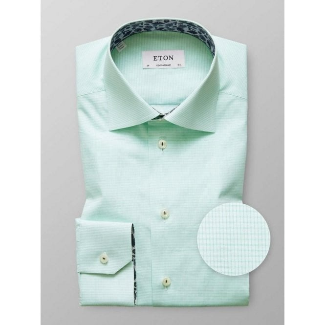 Eton Shirts Contemporary Fit Green Geometric Print Shirt With Feather Trim 2716 79436 63