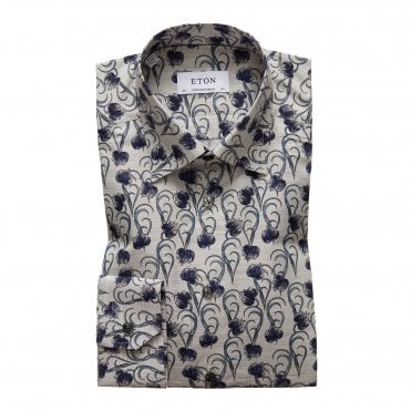 Eton Shirts Contemporary Fit Grey Floral Flannel Shirt