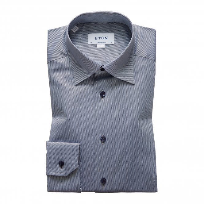 Eton Shirts Contemporary Fit Light Blue and Navy Stripe Eton Shirt