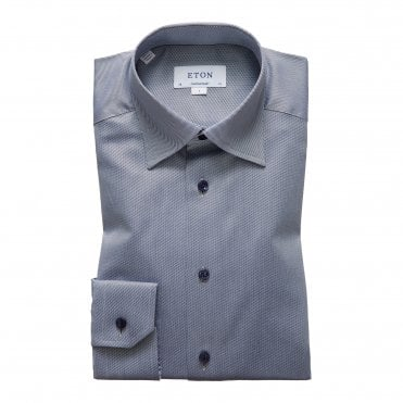Contemporary Fit Light Blue and Navy Stripe Eton Shirt