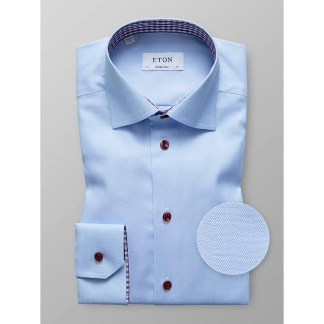 Eton Shirts Contemporary Fit Light Blue Contrast Shirt 3010 00402 22