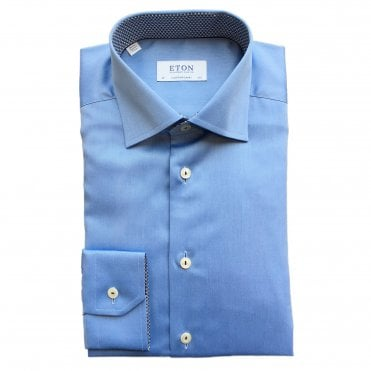 Contemporary Fit Light Blue Eton Shirt With 'Micro Panda' Trim