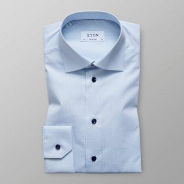 Eton Shirts Contemporary Fit Light Blue Micro-Check Shirt 20357933921