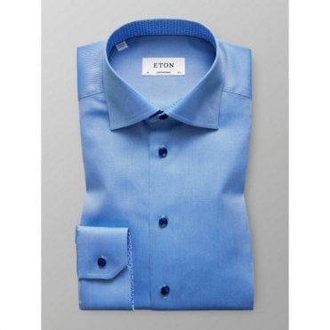 Eton Shirts Contemporary Fit Light Blue Shirt With Houndstooth Trim 30000039623
