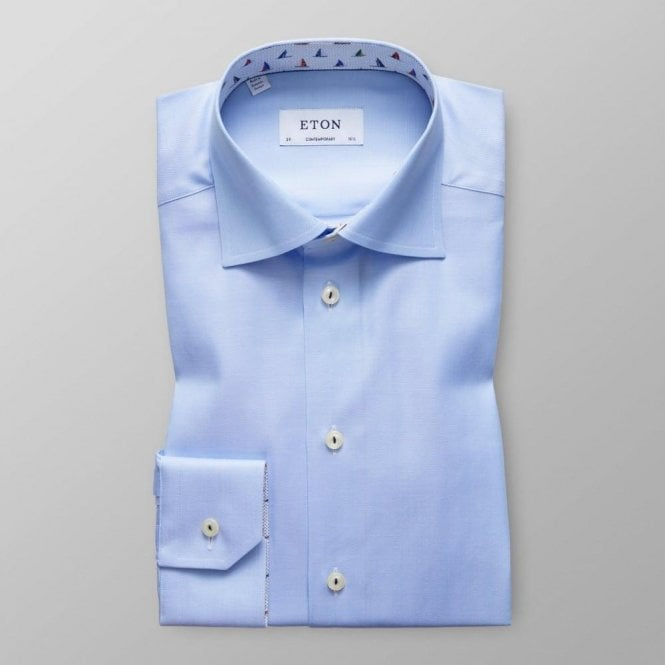 Eton Shirts Contemporary Fit Light Blue Shirt With 'Sail Boat' Trim 30100031122