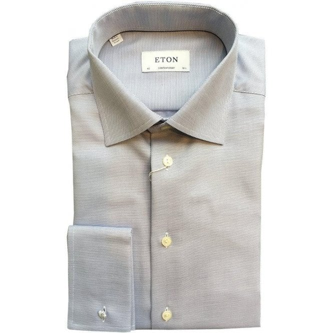 Eton Shirts Contemporary Fit Light Blue Spotted French Cuff Shirt 33127931227