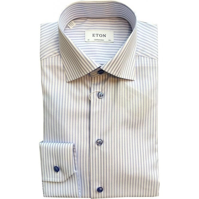Eton Shirts Contemporary Fit Light Blue Stripe Shirt 33167934423