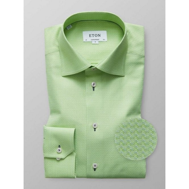 Eton Shirts Contemporary Fit Light Green Patterned Shirt 33617938364