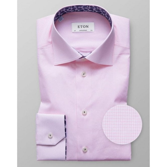 Eton Shirts Contemporary Fit Light Pink Geometric Pattern Shirt With Feather Trim 27167943651