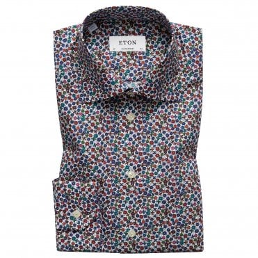 Contemporary Fit Micro Floral Print Eton Shirt