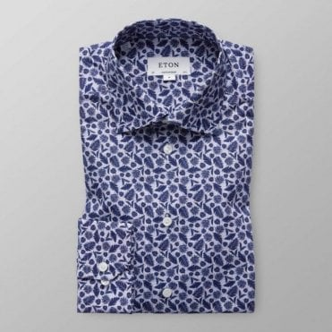 Eton Shirts Contemporary Fit Multicoloured Shirt With Navy Feather Print 27187931129