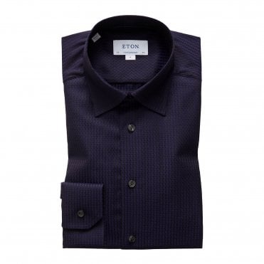 Eton Shirts Contemporary Fit Navy & Black Jacquard Shirt