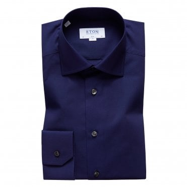 Contemporary Fit Navy Button Under Eton Shirt