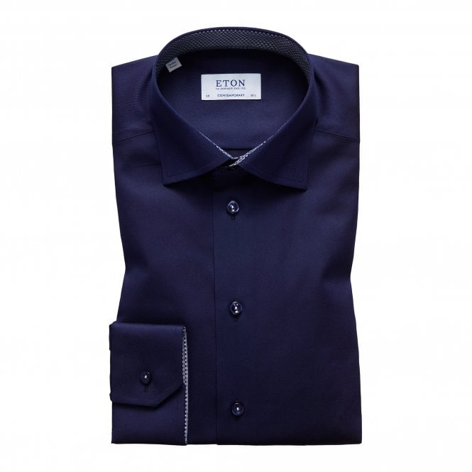 Eton Shirts Contemporary Fit Navy Eton Shirt With 'Micro Panda' Trim