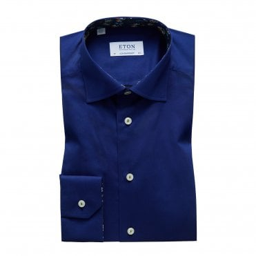Contemporary Fit Navy Eton Shirt With 'Navy Floral' Trim