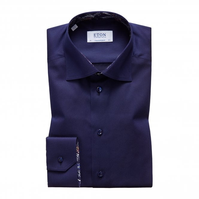 Eton Shirts Contemporary Fit Navy Eton Shirt With 'Paisley' Trim