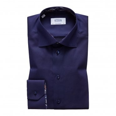 Contemporary Fit Navy Eton Shirt With 'Paisley' Trim