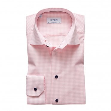 Contemporary Fit Pink Checked Shirt