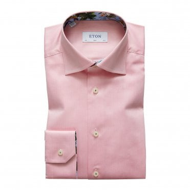 Contemporary Fit Pink Eton Shirt with Flower Trim