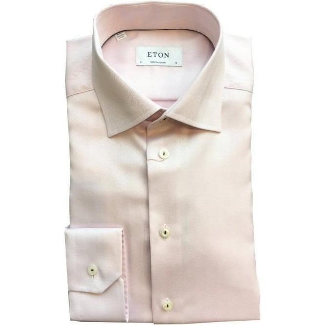 Eton Shirts Contemporary Fit Pink Herringbone Shirt 32537940750