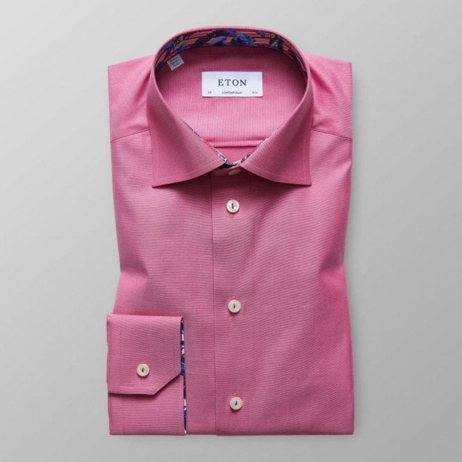Eton Shirts Contemporary Fit Pink Shirt With Feather Trim 30000046586