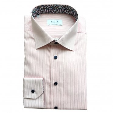 Contemporary Fit Pink Stripe Eton Shirt With 'floral' Trim