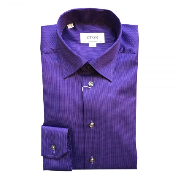Eton shirts contemporary fit purple patterned shirt with for Hidden button down collar shirts