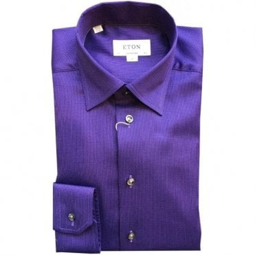 Eton Shirts Contemporary Fit Purple Patterned Shirt With Hidden Button Down Collar 33476140777