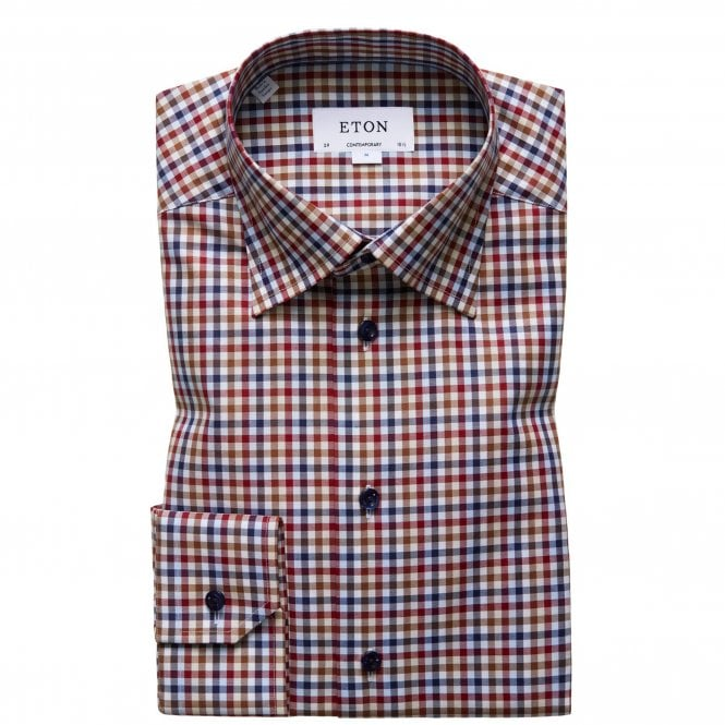 Eton Shirts Contemporary Fit Red and Brown Check Eton Shirt With Navy Buttons