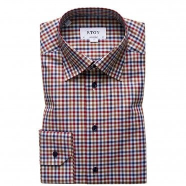 Contemporary Fit Red and Brown Check Eton Shirt With Navy Buttons