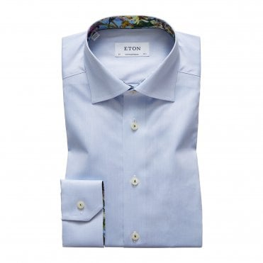 Contemporary Fit Sky Blue Eton Shirt with Flower Trim
