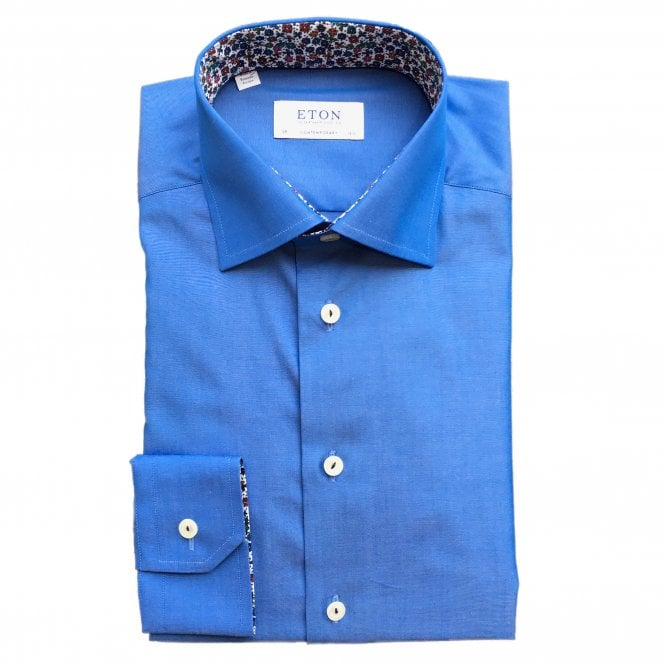 Eton Shirts Contemporary Fit Sky Blue Eton Shirt With 'Micro Floral' Trim