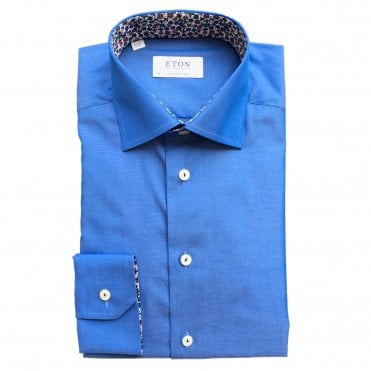 Contemporary Fit Sky Blue Eton Shirt With 'Micro Floral' Trim