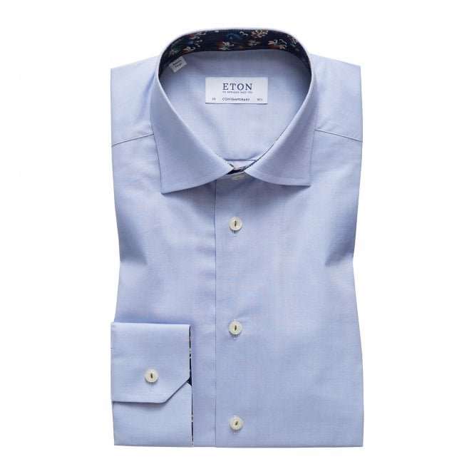 Eton Shirts Contemporary Fit Sky Blue Eton Shirt With 'Navy Floral' Trim