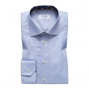Contemporary Fit Sky Blue Eton Shirt With 'Navy Floral' Trim