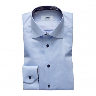 Contemporary Fit Sky Blue Eton Shirt With 'Paisley' Trim