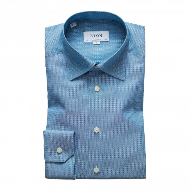 Eton Shirts Contemporary Fit Turquoise Micro Weave Eton Shirt