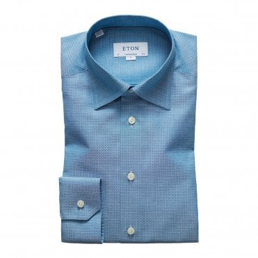 Contemporary Fit Turquoise Micro Weave Eton Shirt