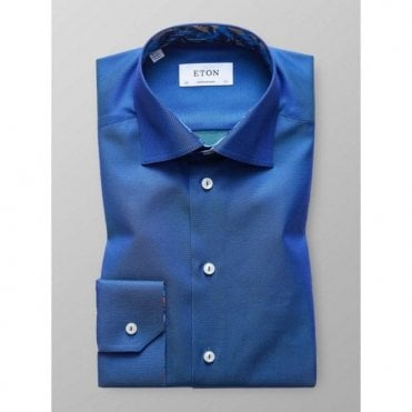 87cce57b727 Eton Shirts Contemporary Fit Two-Tone Blue Shirt With Feather Trim  30000046525