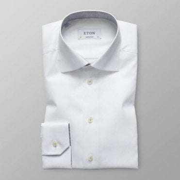 Eton Shirts Contemporary Fit White Day Shirt With Contrasting Grey Trim 30000045800