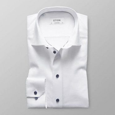 Eton Shirts Contemporary Fit White Day Shirt with Dark Blue Trim 3000 00452 00