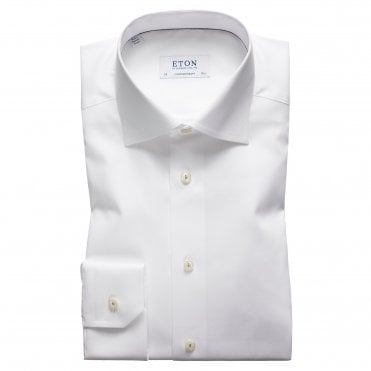 Contemporary Fit White Eton Shirt With Blue Flower
