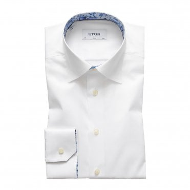 Contemporary Fit White Eton Shirt with Floral Trim