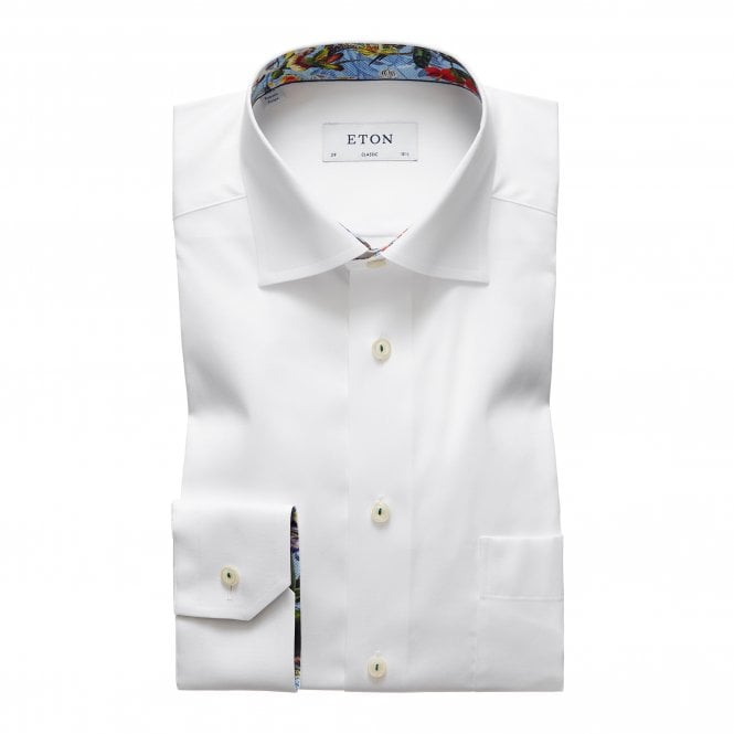 Eton Shirts Contemporary Fit White Eton Shirt with Flower Trim