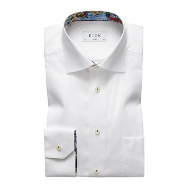 Contemporary Fit White Eton Shirt with Flower Trim