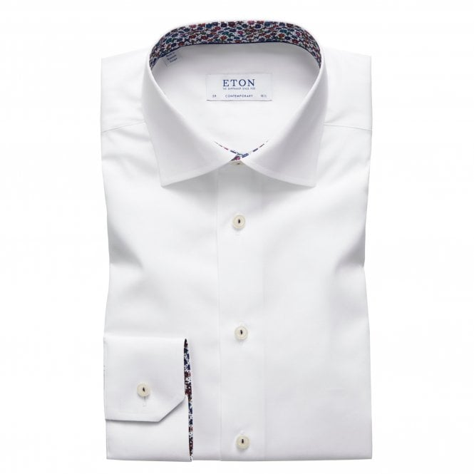 Eton Shirts Contemporary Fit White Eton Shirt With 'Micro Floral' Trim