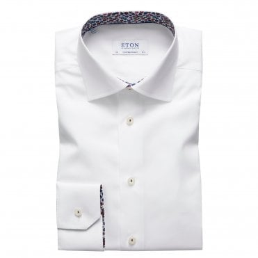Contemporary Fit White Eton Shirt With 'Micro Floral' Trim